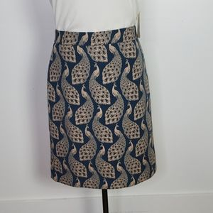 Ann Taylor Peacock Teal and Taupe Pencil Skirt